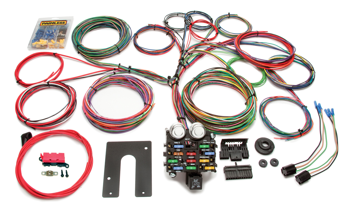 21 circuit classic customizable pickup chassis harness - key in dash by  painless performance
